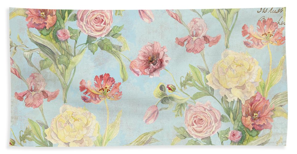 Peony Hand Towel featuring the painting Fleurs De Pivoine - Watercolor In A French Vintage Wallpaper Style by Audrey Jeanne Roberts