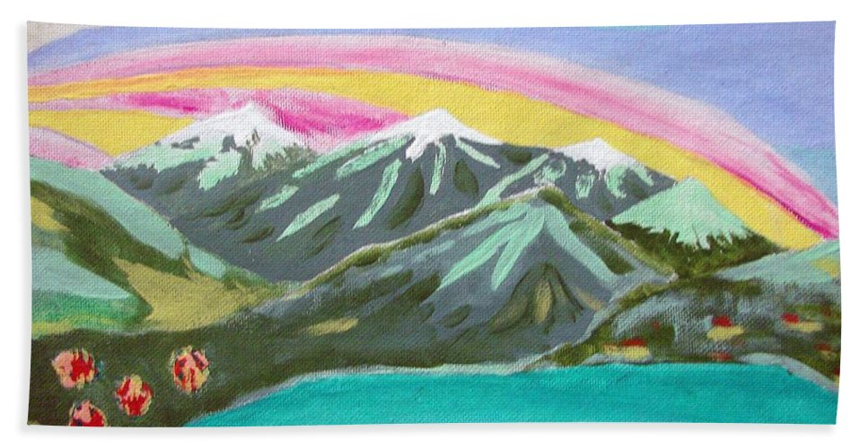 Impressionist Painting Bath Sheet featuring the painting From The Mountains To The Sea by J R Seymour