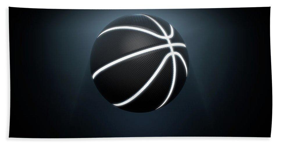 Basketball Bath Towel featuring the digital art Futuristic Neon Sports Ball by Allan Swart
