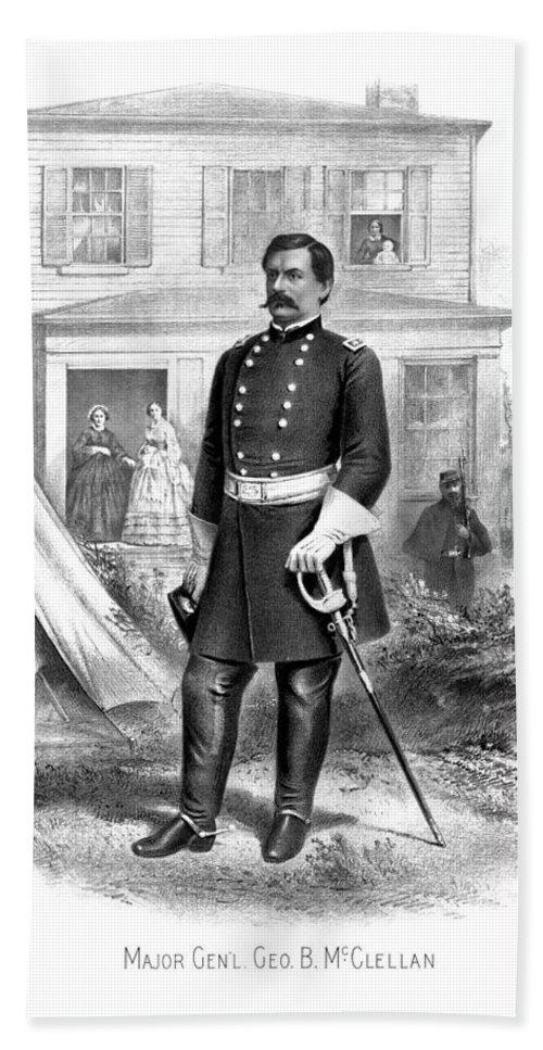 George Mcclellan Bath Sheet featuring the drawing General George Mcclellan by War Is Hell Store