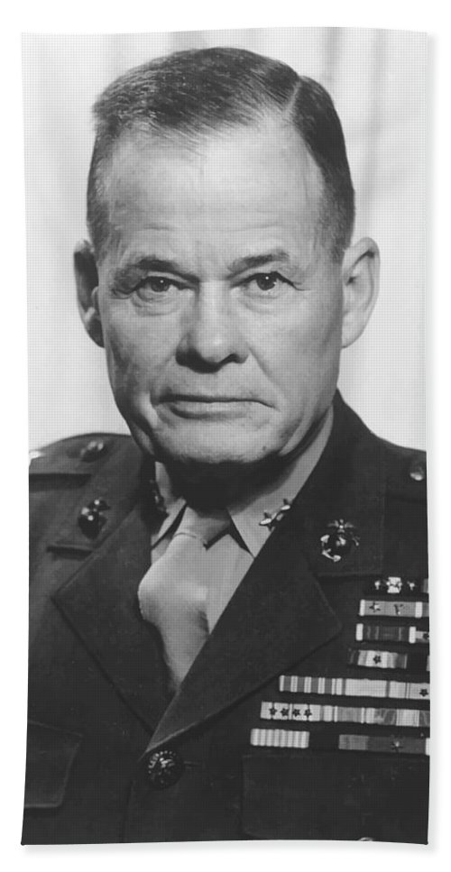 Chesty Puller Hand Towel featuring the painting General Lewis Chesty Puller by War Is Hell Store
