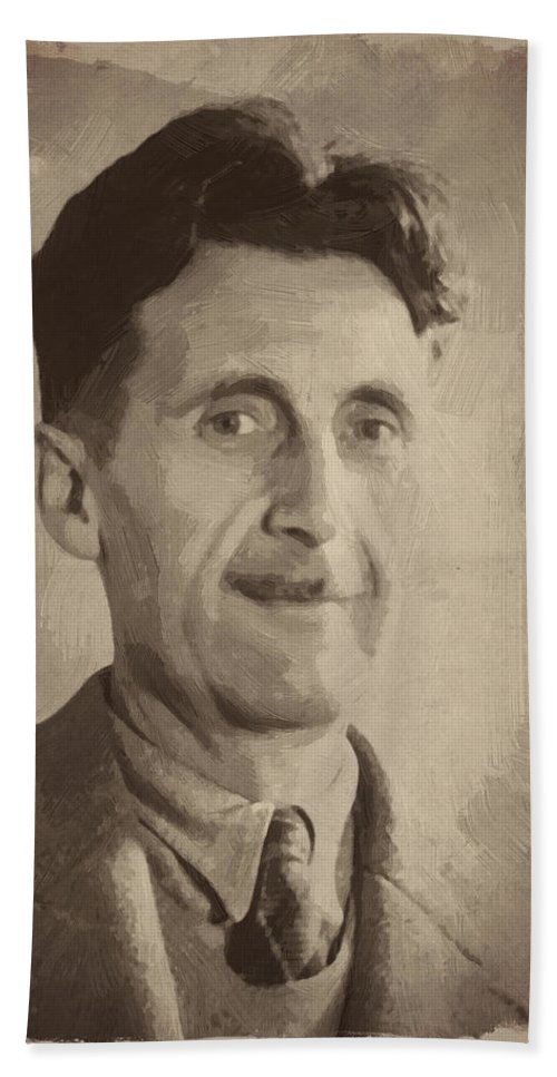George Orwell Hand Towel featuring the digital art George Orwell 2 by Afterdarkness