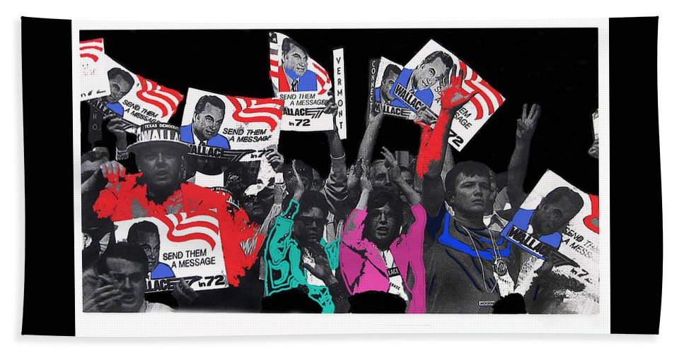 George Wallace For President Supporters Democratic Nat'l Convention Miami Beach Florida 1972-2013 Hand Towel featuring the photograph George Wallace For President Supporters Democratic Nat'l Convention Miami Beach Florida 1972-2013 by David Lee Guss