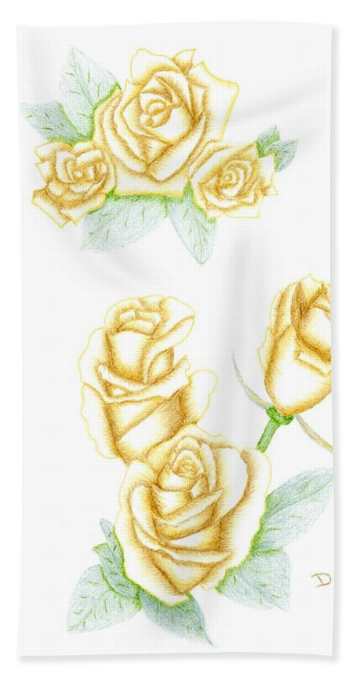 Rose Hand Towel featuring the drawing Gold Dust by Dusty Reed