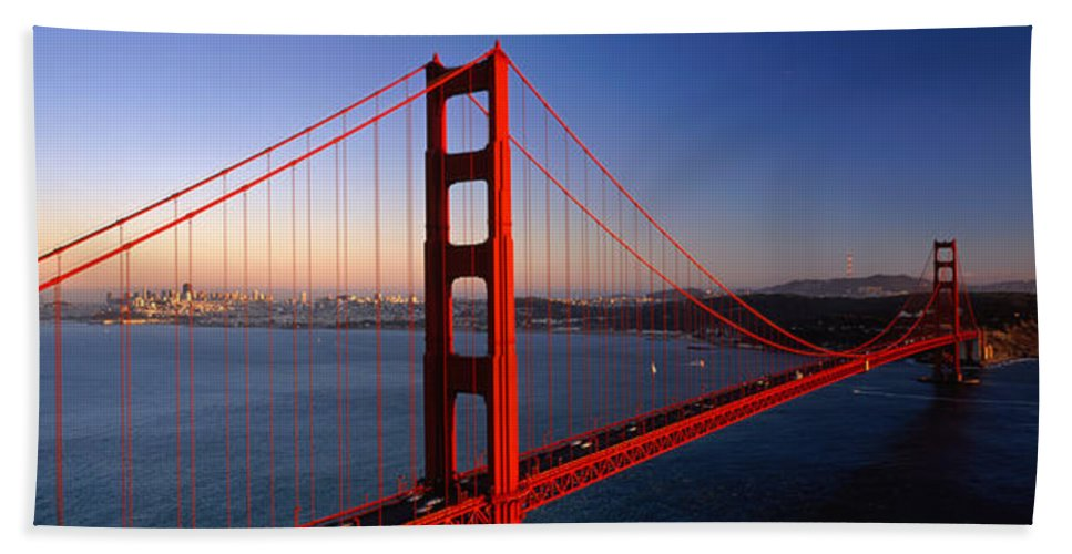 Photography Bath Sheet featuring the photograph Golden Gate Bridge San Francisco Ca by Panoramic Images