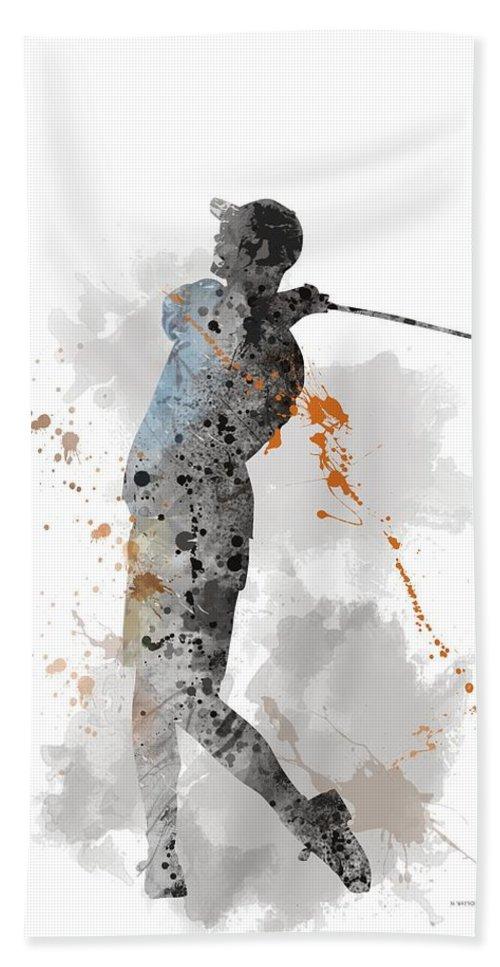 Golfer Hand Towel featuring the digital art Golfer by Marlene Watson