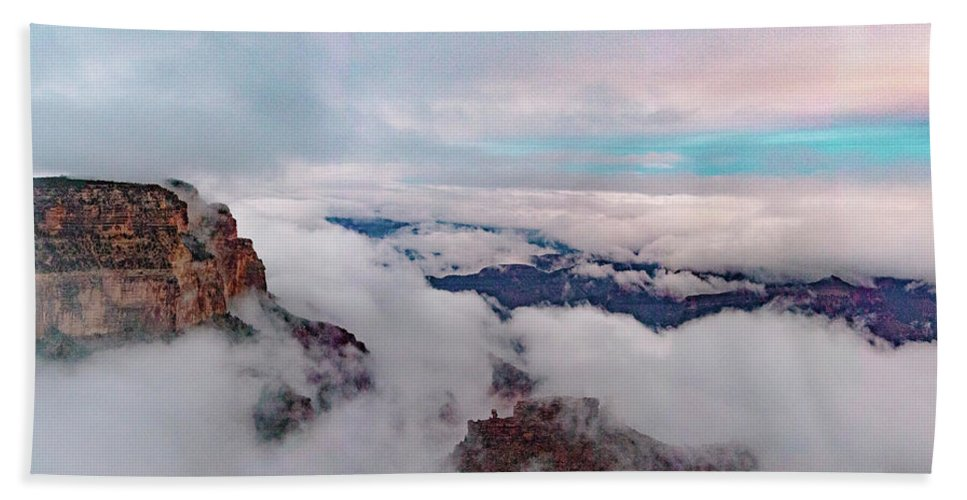 Arizona Bath Sheet featuring the photograph Grand Canyon Above The Clouds by Daniel Shumny