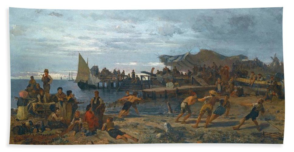 Constantinos Volanakis 1837-1907 Greek A Bustling Shore Bath Sheet featuring the painting Greek A Bustling Shore by MotionAge Designs