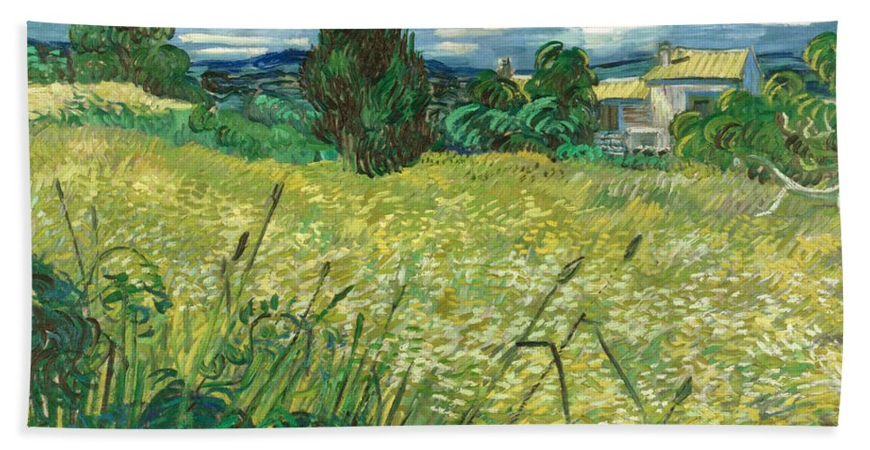 Clouds Hand Towel featuring the painting Green Wheat Field With Cypress by Vincent van Gogh