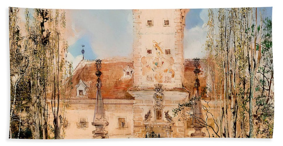 Painting Bath Sheet featuring the painting Greillenstein Castle by Mountain Dreams