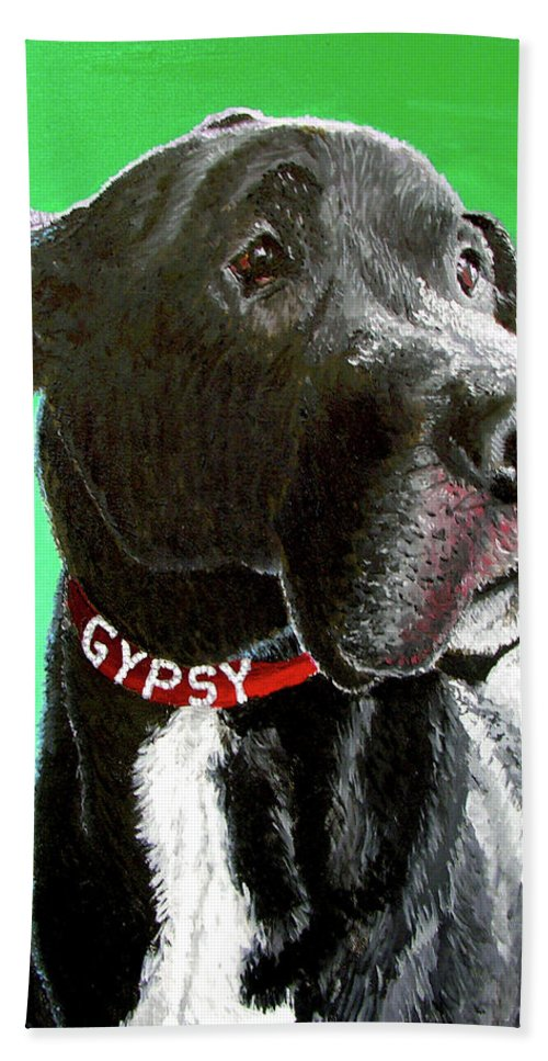 Dog Portrait Hand Towel featuring the painting Gypsy by Stan Hamilton