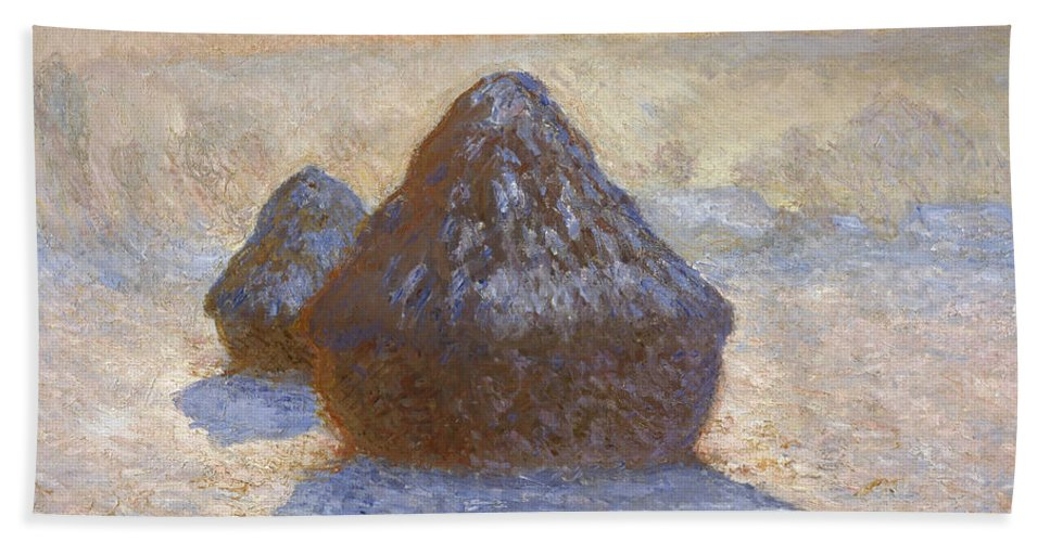 Claude Monet Hand Towel featuring the painting Haystacks, Snow Effect by Claude Monet