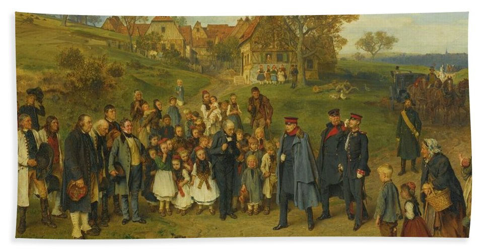 Ludwig Knaus - His Highness On A Journey - 1867 Hand Towel featuring the painting His Highness On A Journey by Ludwig Knaus