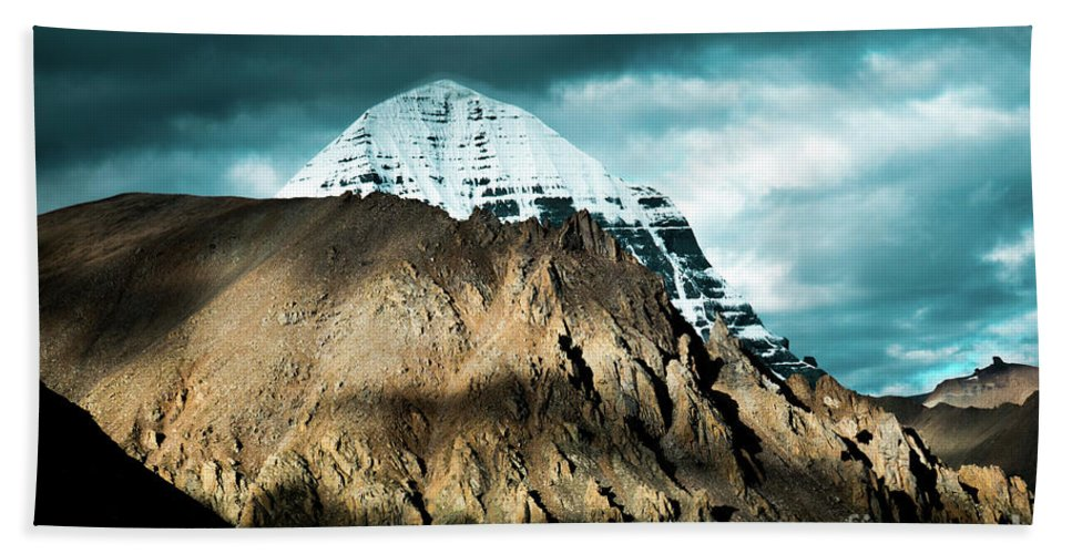 Tibet Hand Towel featuring the photograph Holy Kailas East Slop Himalayas Tibet Yantra.lv by Raimond Klavins