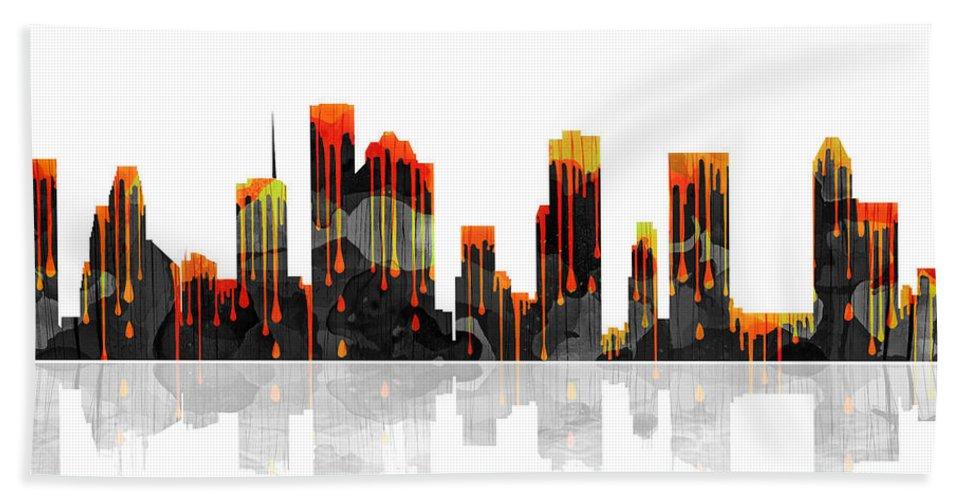 Houston Texas Skyline Bath Sheet featuring the digital art Houston Texas Skyline by Marlene Watson