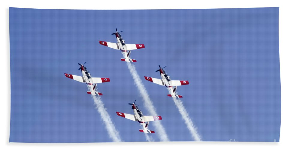 Aerobatics Hand Towel featuring the photograph Iaf Acrobatic Team by Vladi Alon