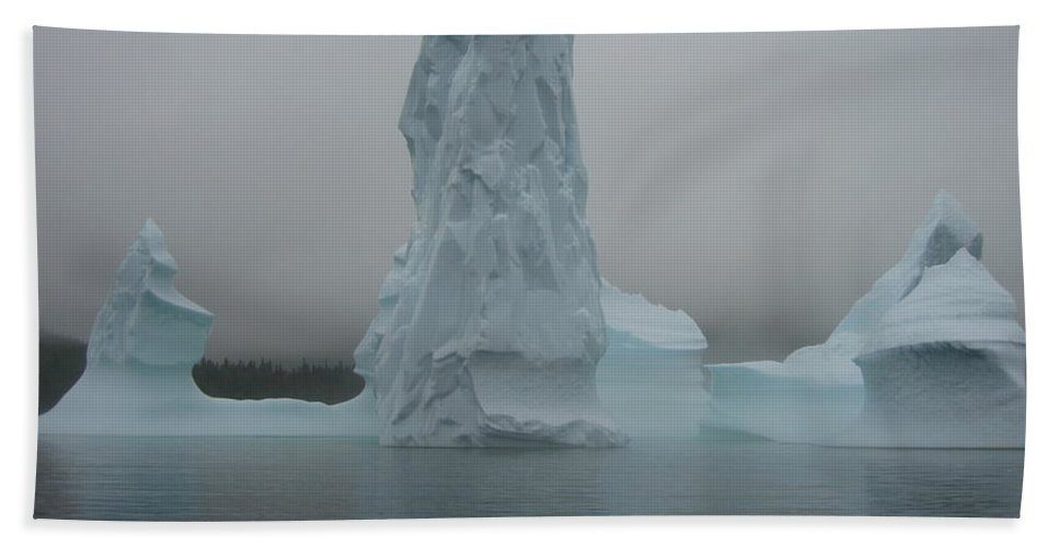 Icebergs Newfoundland Bath Sheet featuring the photograph Icebergs by Seon-Jeong Kim