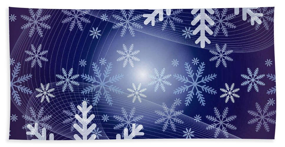 Snow Hand Towel featuring the photograph Snowflake by Sebastien Coell
