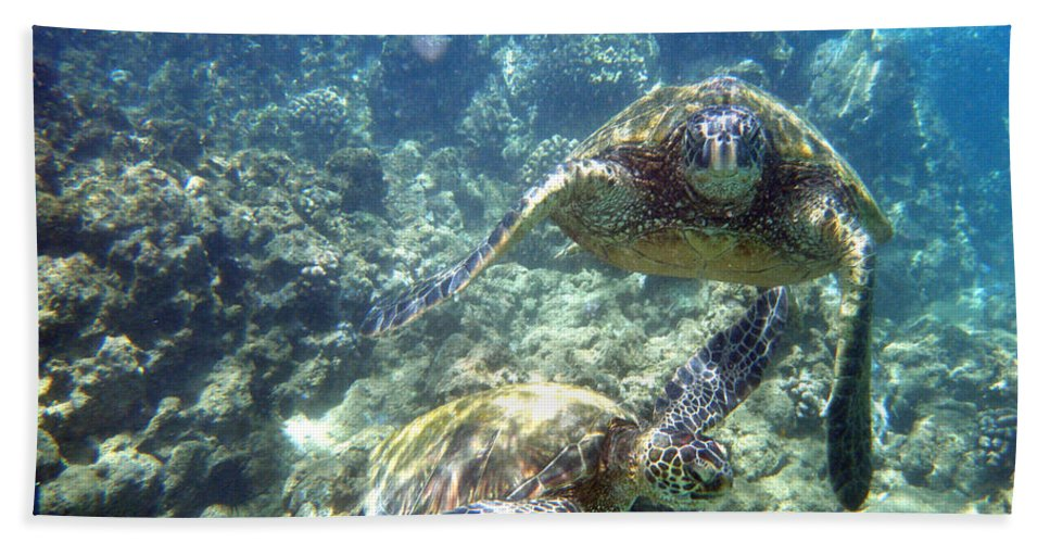 Sea Turtle Bath Sheet featuring the photograph Just The Two Of Us by Angie Hamlin