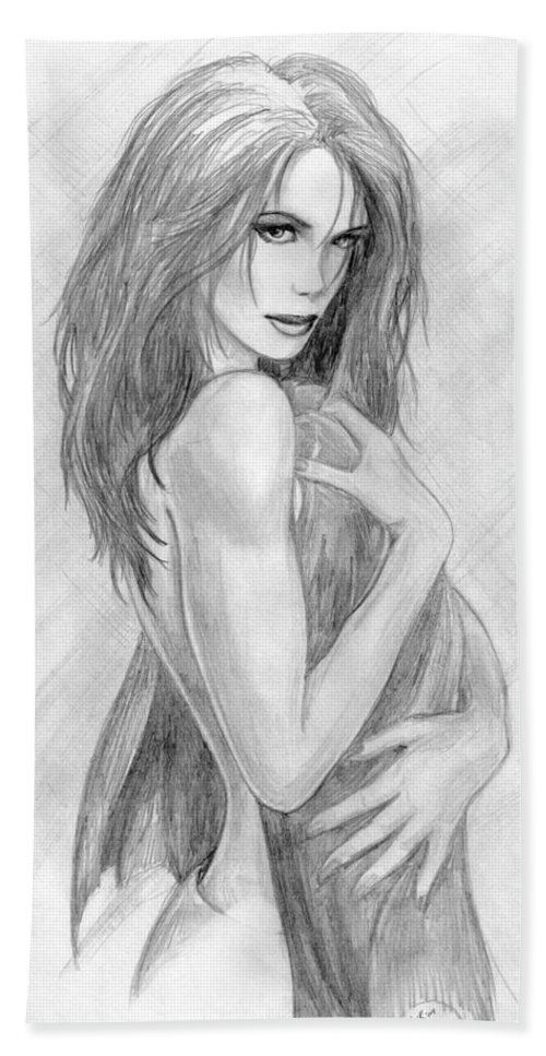 Kate Beckinsale Bath Towel featuring the drawing 2 by Kristopher VonKaufman