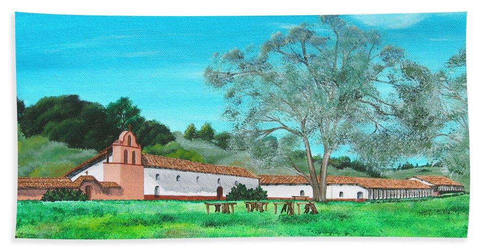 La Purisima Hand Towel featuring the painting La Purisima Mission by Angie Hamlin