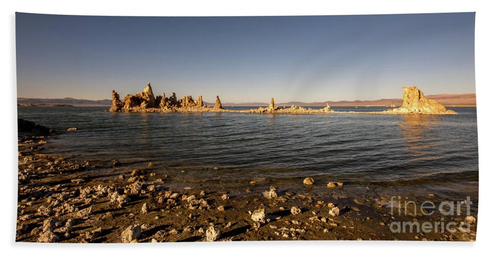 395 Hand Towel featuring the photograph Lakefront And Sunset At Mono Lake, Eastern Sierra, California, U by Eiko Tsuchiya