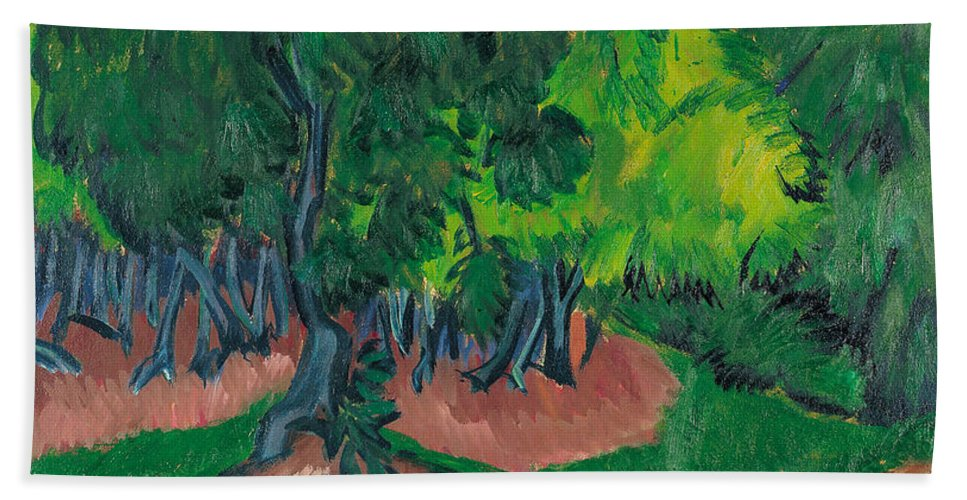 Die Brucke Hand Towel featuring the painting Landscape With Chestnut Tree by Ernst Ludwig Kirchner