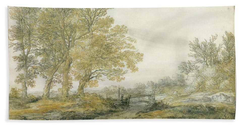 Landscape With Trees Hand Towel featuring the painting Landscape With Trees by Aelbert Cuyp