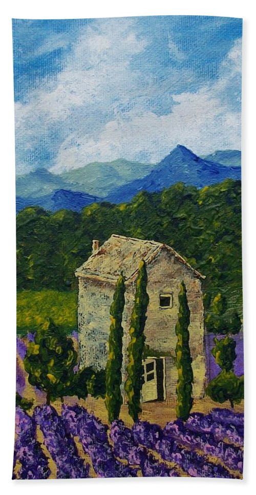Art & Collectibles Painting Acrylic Provence France Mediterranean Art French Countryside Landscape Painting Lavender Fields Mountain Scenery Hillside Painting Tree Artwork Purple Home Decor Modern Green Design Yellow Artwork Blue Modern Design Bright Painting Bath Sheet featuring the painting Lavender Farm by Mike Kraus