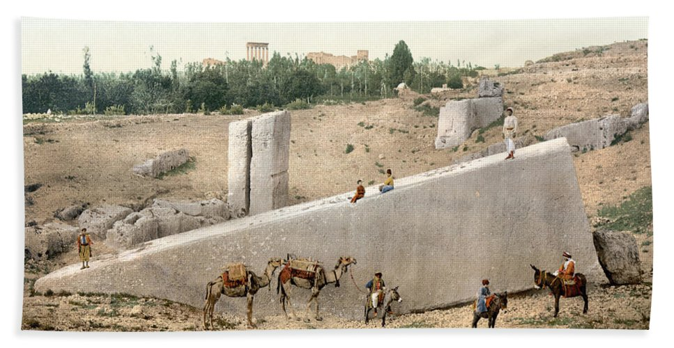 1895 Bath Sheet featuring the photograph Lebanon: Baalbek by Granger