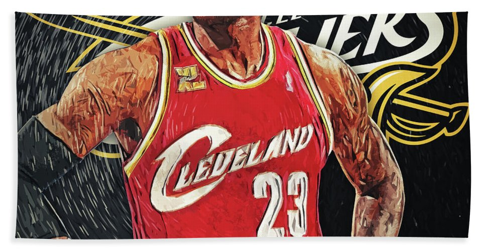 Lebron James Bath Sheet featuring the digital art Lebron James by Zapista