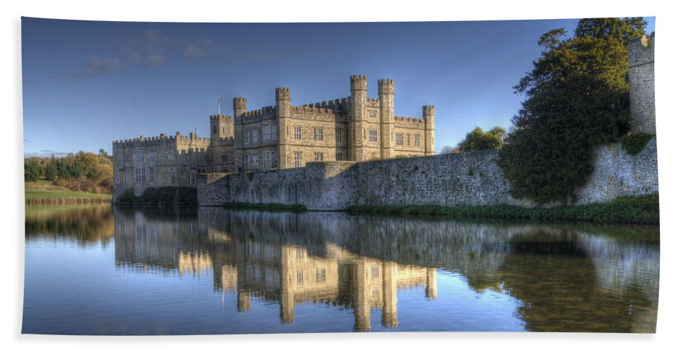 Leeds Castle Hand Towel featuring the photograph Leeds Castle Reflections by Chris Thaxter