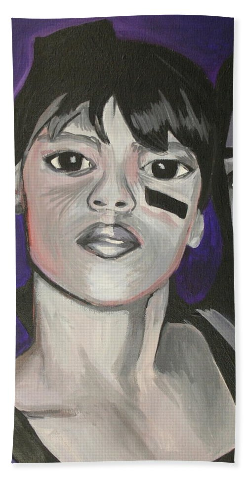 Lisa Lopez Hand Towel featuring the painting Left Eye by Kate Fortin