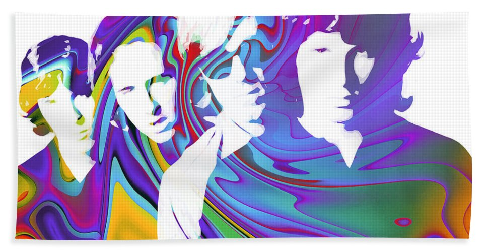 The Doors Digital Painting Jim Morrison The Doors Break On Through Expressionism Impressionism 60s 70s Immortal Portrait Man Young Male Songwriter Singer Bath Sheet featuring the digital art Light My Fire by Steve K