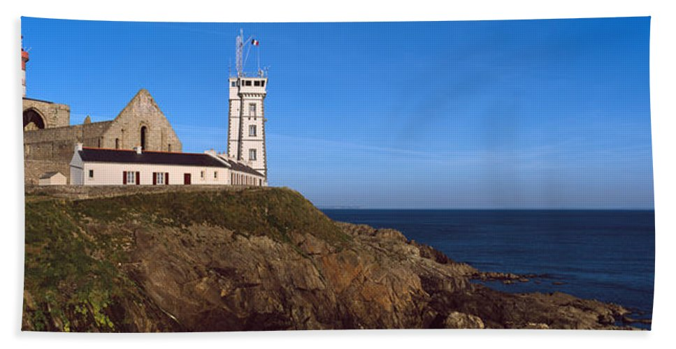 Photography Bath Sheet featuring the photograph Lighthouse On The Coast, Saint-mathieu by Panoramic Images