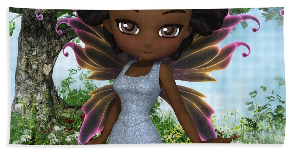 3d Bath Sheet featuring the digital art Lil Fairy Princess by Alexander Butler
