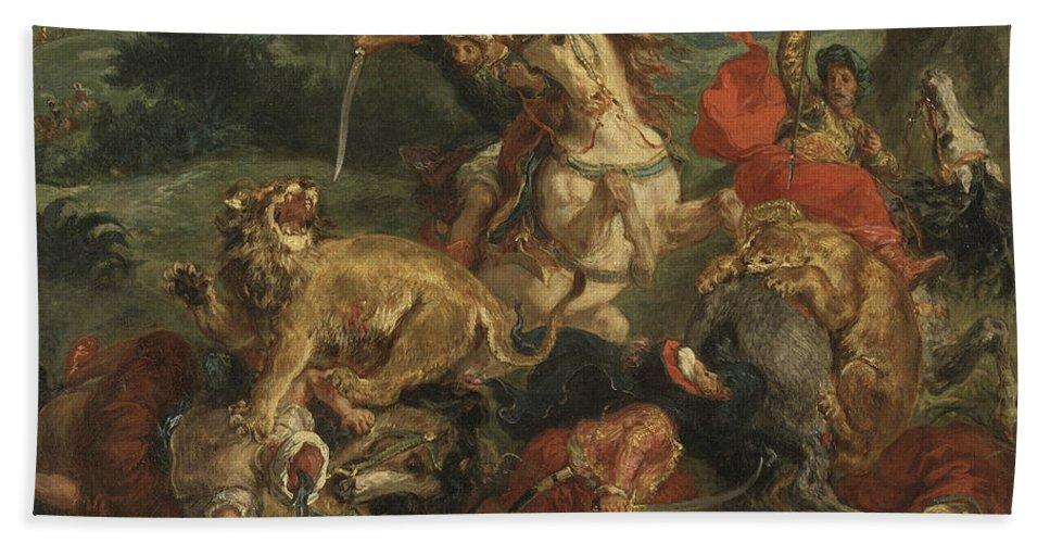 Eugene Delacroix Bath Towel featuring the painting Lion Hunt by Eugene Delacroix