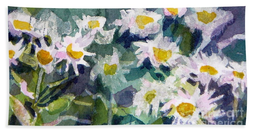 Flowers Bath Towel featuring the painting Little Asters by Jan Bennicoff