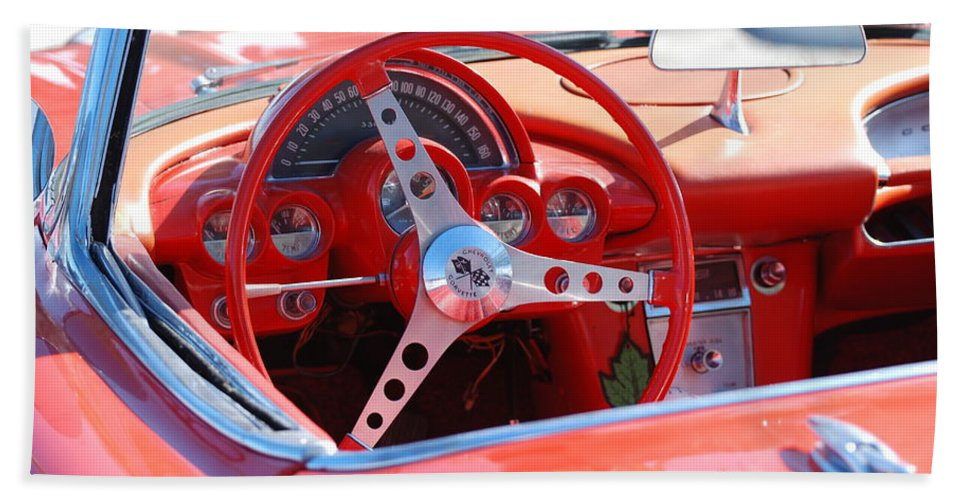 Corvette Bath Sheet featuring the photograph Little Red Corvette by Rob Hans
