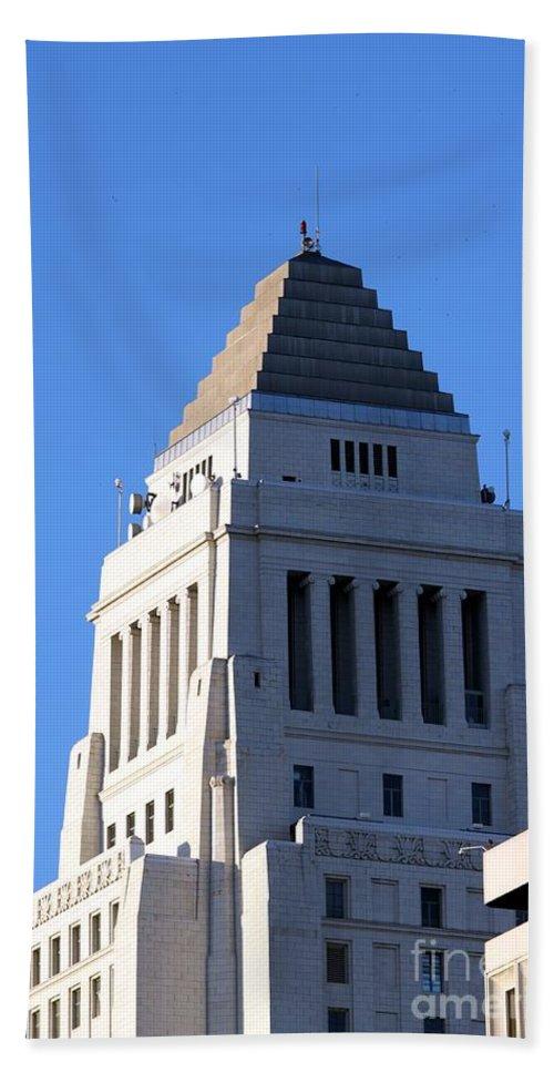 Landmark Hand Towel featuring the photograph Los Angeles City Hall by Henrik Lehnerer