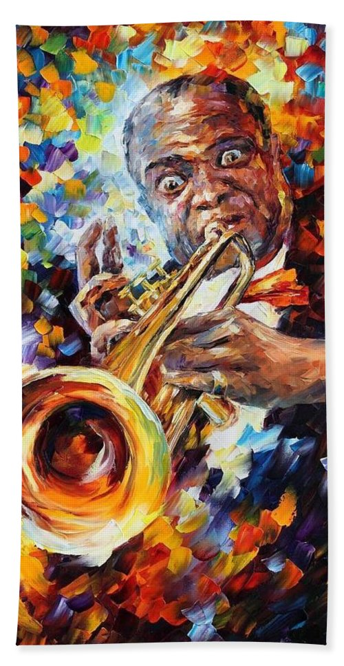 Afremov Bath Sheet featuring the painting Louis Armstrong . by Leonid Afremov