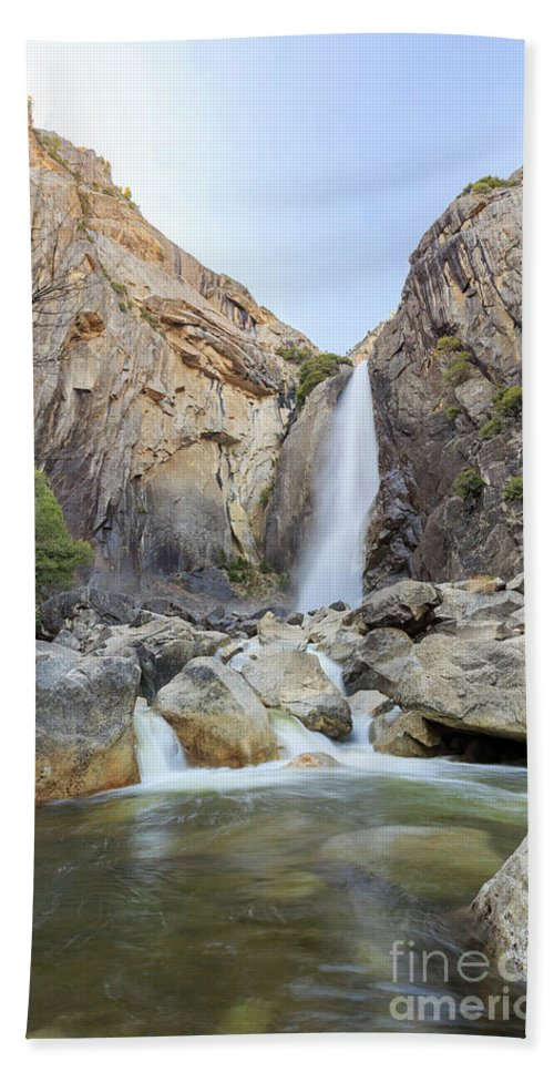 Madera Hand Towel featuring the photograph Lower Yosemite Fall In The Famous Yosemite by Chon Kit Leong