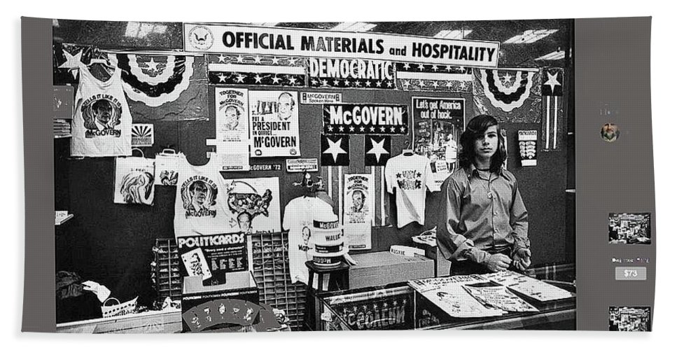 Merchandise George Mcgovern For President Democratic Nat'l Convention Miami Beach Florida 1972 Hand Towel featuring the photograph Merchandise George Mcgovern For President Democratic Nat'l Convention Miami Beach Florida 1972 by David Lee Guss