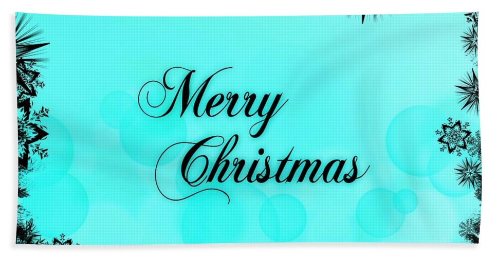 Merry Bath Sheet featuring the digital art Merry Christmas by Snowflake Obsidian
