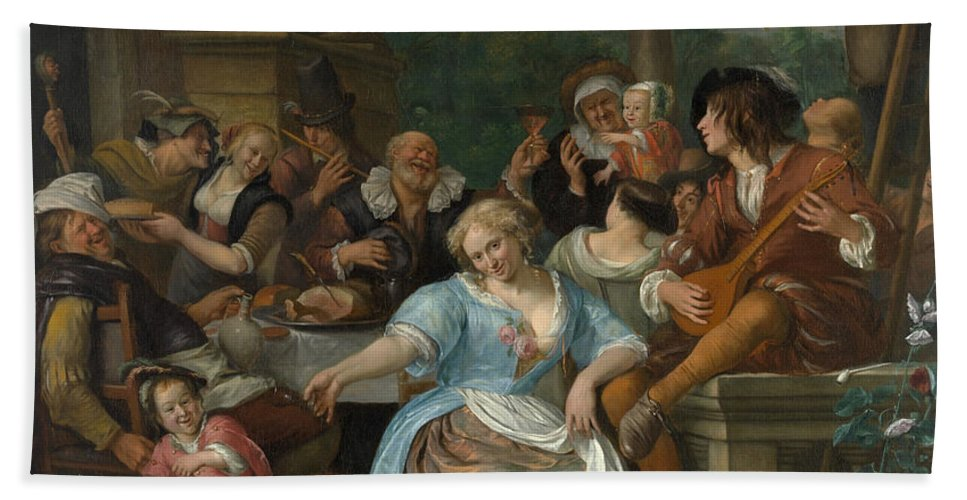 Animal Bath Sheet featuring the painting Merry Company On A Terrace by Jan Steen