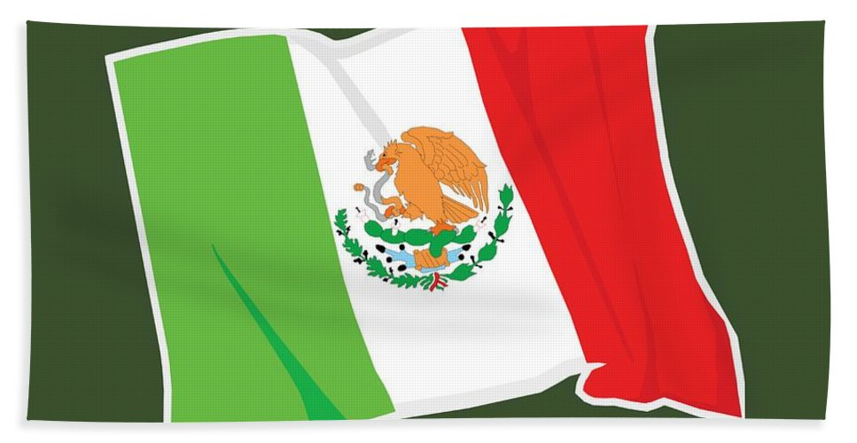 Flag Hand Towel featuring the digital art Mexico Flag by Frederick Holiday