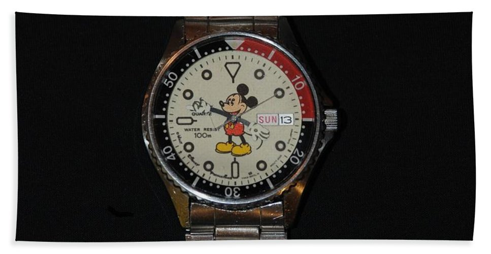 Mickey Mouse Hand Towel featuring the photograph Mickey Mouse Watch by Rob Hans