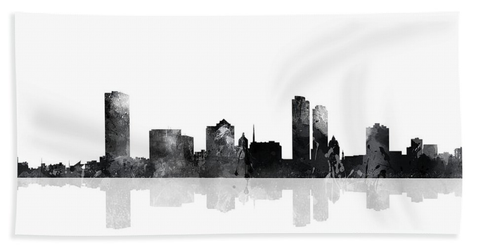 Milwaukee Wisconsin Skyline Bath Sheet featuring the digital art Milwaukee Wisconsin Skyline by Marlene Watson