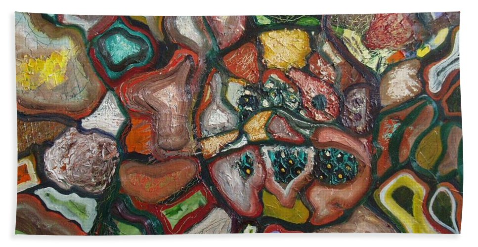 Abstract Paintings Paintings Abstract Art Paintings Bath Sheet featuring the painting Mindscape by Seon-Jeong Kim