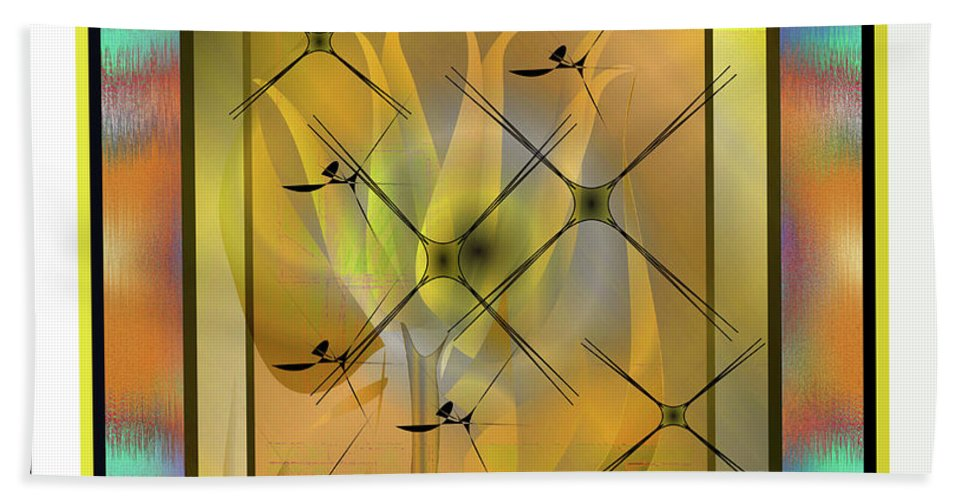 Abstract Bath Sheet featuring the digital art Modern Colours by Iris Gelbart